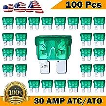Kodobo 100 Pack Auto Fuses 30 AMP ATC/ATO Standard Regular Fuse Blade 30A Car Truck Boat Marine RV - 100Pack