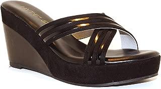 Hype Women's Wedge Heeled Cross Strap Casual Slip On ZD10971 (Carolyn)