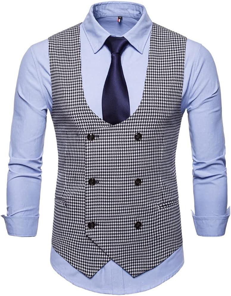 YFQHDD Men Vest Suit Plaid Button Vest Suit Men Formal Print Sleeveless Jacket Coat Plus Size 4XL (Color : A, Size : XXXL code)