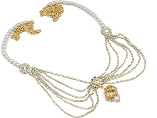 DSD Designer Belly Chain Pearl White Plated Wedding Jewellery Kamarband for Women and Girls