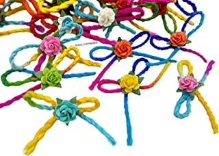 NAVA CHIANGMAI Handmade Rainbow Mulberry Paper Rope Decorate with Mini Flowers Twine Bows for Crafts Embellishments Party DIY Decoration Assorted Colors Wedding Card Scrapbook Bow Souvenir Gift (Rose)