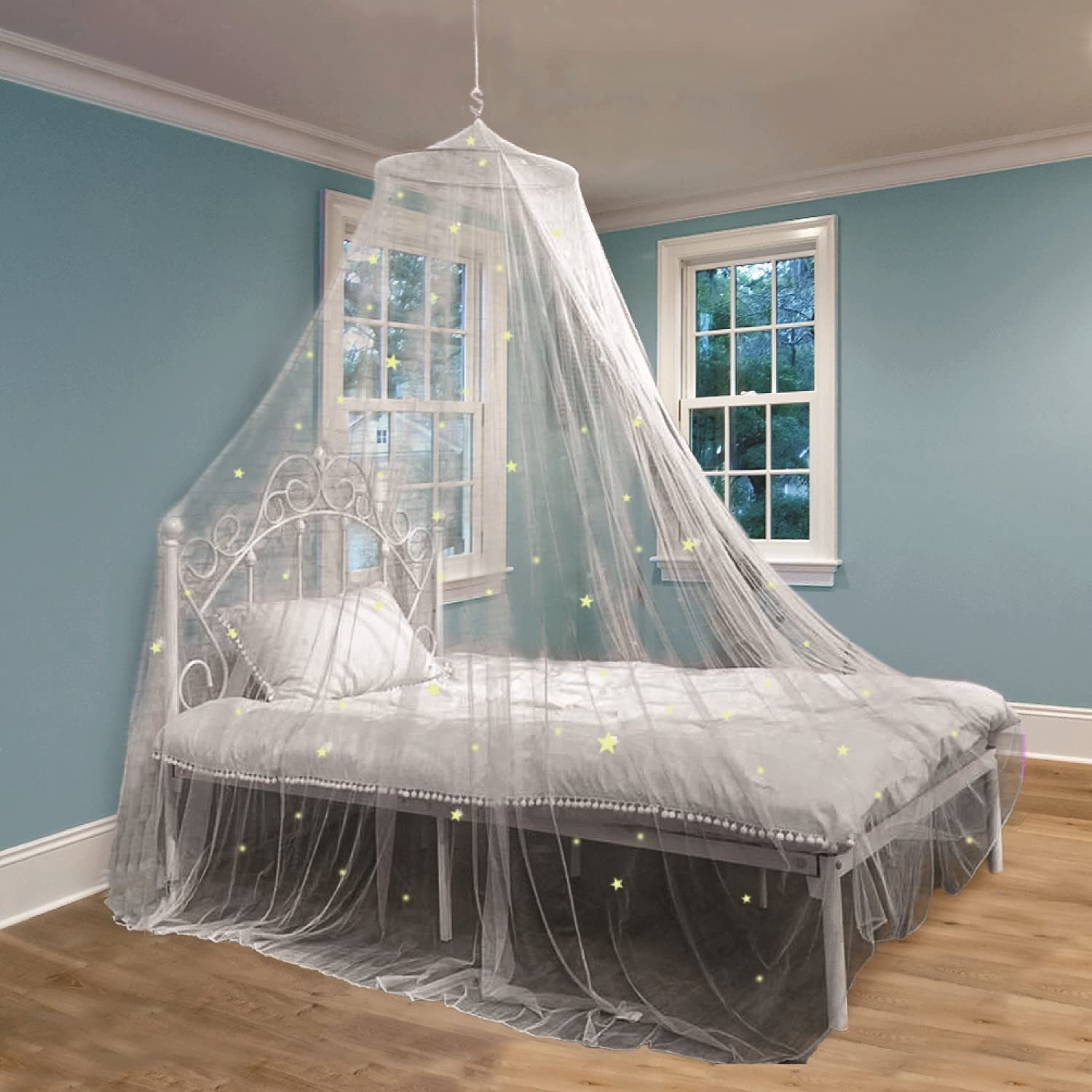 Bed Canopy with Glow in The Dark Stars for Girls, Kids and Babies, Net Use to Cover The Baby Crib, Kid Bed, Girls Bed Or Full Size Bed, Fire Retardant Fabric, White