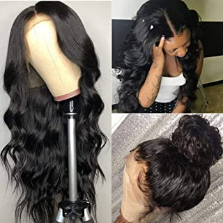 ISEE Hair Young 150% Density Brazilian Body Wave Lace Front Wigs Human Hair Glueless Lace Front Human Hair Wigs For Women Black Pre Plucked Unprocessed 8A Virgin Brazilian Hair Wig(14'' Natural Color)