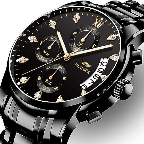 d2dbd8c6e OLMECA Men's Watches Luxury Wristwatches Waterproof Fashion Quartz Watches  Chronograph Stainless Steel Watch for Men