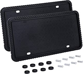 Orion Motor Tech Silicone License Plate Frames, 2 License Plate Covers, 2 Mounting Screws Sets and Caps, Rust-Proof, Rattle-Proof, Weather-Proof, Scratch-Proof Universal Plate Holder, Full Visibility
