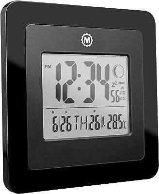 Marathon CL030045BK Reloj de repisa o sobre Mesa Digital Table Clock Negro Rectangular - Relojes de Mesa (1 Pieza(s), 120,7 mm, 38,1 mm, 38,1 mm, Ámbar, AAA)