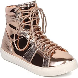 Women Metallic Mixed Media High Top Lace Up Sneaker GD89