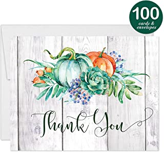 100 Rustic Autumn Thank You Cards Boxed 100 Bulk Country Design Blank Seasonal Notecards with Envelopes Thanking Business Employees Clients Engagement Bridal Shower Wedding Guests Digibuddha VT0117C