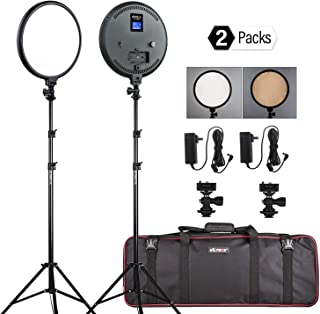 2-Pack 10-inch LED Round Bi-Color Camera Video Lighting Kit, Ultra Thin LED Photo Light Kit with Light Stand, DC Adapter, Hot Shoe Mount, and Carrying Black Bag for Portrait YouTube Video Shooting