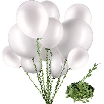 RUBFAC 120pcs White Pearl Balloon 12 Inches Round Metallic Pearlescent Latex Balloons and 65 Feet Artificial Green Ivy for Weddings Showers Birthday Party Decorations