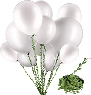 58 Pieces White Balloons 12 inch 18 inch 36 inch White Latex Round Balloons with 65 Feet Long Artificial Vines for Wedding Birthday Party Decorations (White Balloons)