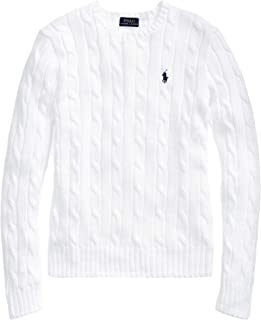 Ralph Lauren Polo Womens Cable Knit Crew Neck Sweater (XL, BasicWhite)