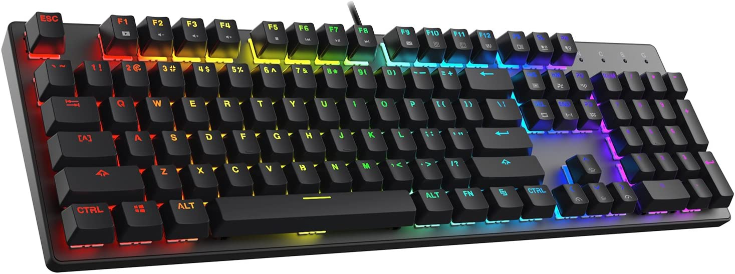 DREVO Tyrfing V2 104Key RGB Mechanical Gaming Keyboard USB Wired Full Size US Layout Programming Macro NKRO Software Support with Outemu Linear (Red Switch, Black)