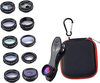 gazechimp 10 em 1 Kit Telefone Camera Lens Wide Angle///Telefoto/CPL/Fluxo/radial/Filtro Da Estrela/Caleidoscópio Lente pa...