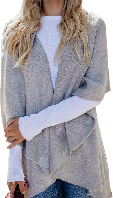 INIBUD Vest for Women Sleeveless Cardigan Open Front Asymmetric Hem Knit Sweater Draped
