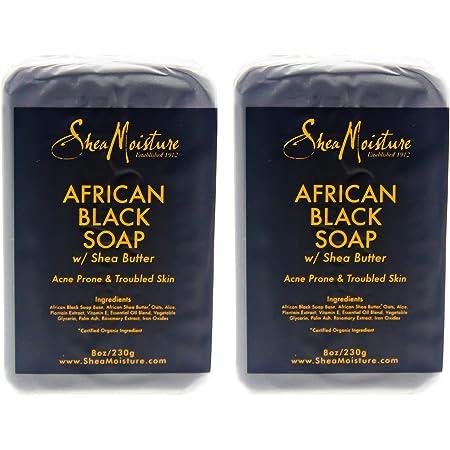 SHEA MOISTURE African Black Soap Bar Acne Prone & Troubled Skin Pack Of 2, 8 Oz