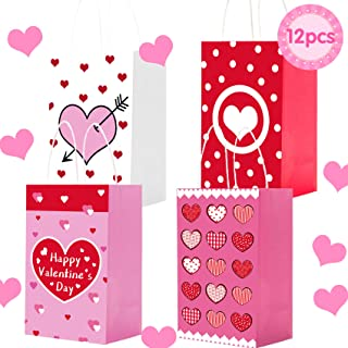 MISS FANTASY Valentine Gift Bags 12 Pack Valentine Day Gift Bags for Kids Party Valentine Paper Goodie Bags Valentine Cook...