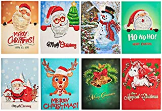 Diamond Painting Christmas Cards DIY 5d Diamond Painting Card Partial Diamond Painting Round Drill Greeting Thank You Cards
