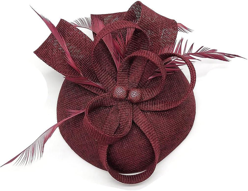 Coolwife Womens Fascinator Hat Sinamay Pillbox Flower Feather Tea Party Derby Wedding Headwear