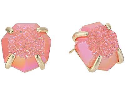 Kendra Scott Ryan Stud Earrings (Gold/Coral Drusy) Earring