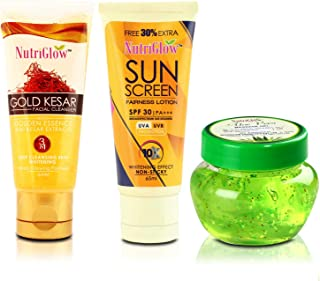 NutriGlow Gold Kesar Face Wash with Sunscreen and Aloe Vera Gel Pack of 3 (65ml+65ml+100g)