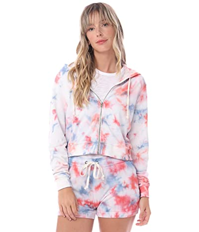 Alternative Tie-Dyed Lightweight Grench Terry Cropped Zipped Hoodie