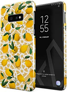 BURGA Phone Case Compatible with Samsung Galaxy S10E Lemon Pattern Vintage Fruits Citrus Exotic Tropical Yellow Summer Cute for Women Thin Design Durable Hard Plastic Protective Case