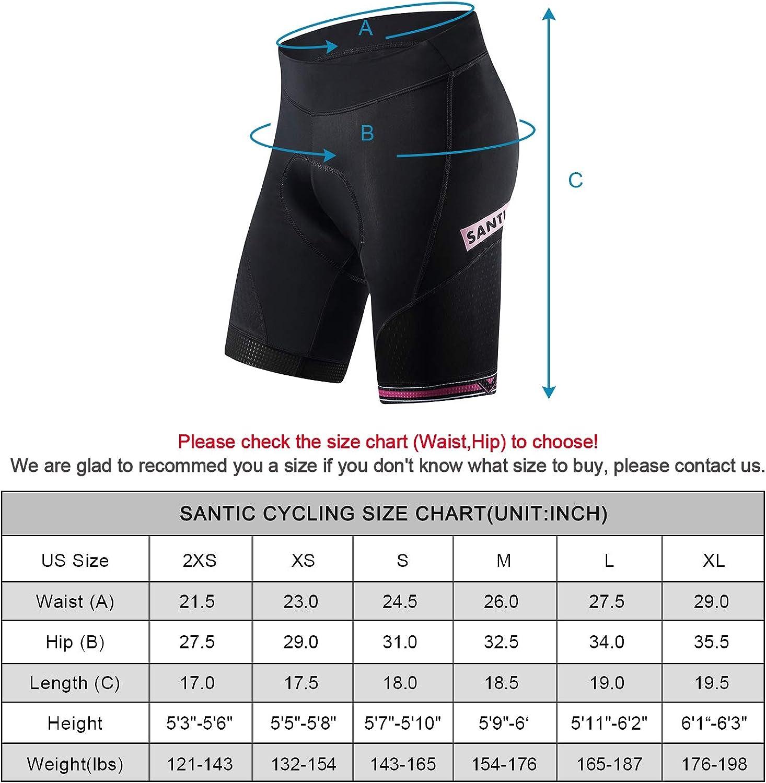 Santic Cycling Shorts Men /& Women Padded Bicycle Riding Pants Unisex Bike Biking Clothes Cycle Wear Tights