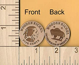 Wooden Nickel Qty (12) Laser Cut Wood Token Coin Don't Take Any Wooden Nickels!