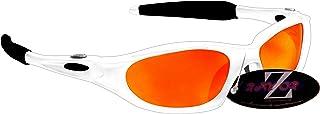 Rayzor Profesionales Ligeros Blanco UV400 Deportes Wrap Ciclismo Gafas de Sol, con un Anti-deslumbramiento de Lente Espejo Rojo Iridium Revo