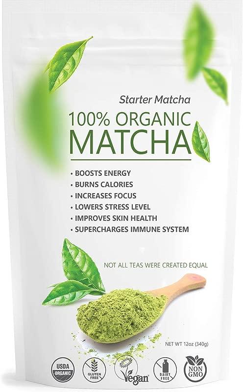 Starter Matcha Green Tea Powder 12oz 340g USDA Organic Matcha 100 Pure Natural Energy Boost Vegan GMO Free Culinary Matcha Tea Shakes Smoothies Lattes Baking