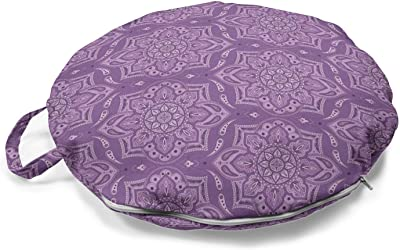 Machine Washable Ideal Tools for Yoga and Meditating Buddha Groove Brocade Zafu Meditation Cushion in Regal Jewel Tones with Separate Buckwheat Hulls Insert Plum Purple