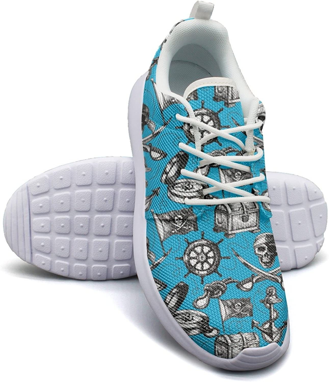 bluee Pirate Skull Flag Compass Treasure Rudder Anchor Women's Fashion Basketball shoes Cute Mesh Lightweight Basketball Sneakers