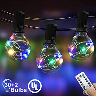IELECMG Outdoor String Light, 32.8FT 30Pcs Linkable Patio Lights Dimmable G40 Globe Led String Lights with Remote Control UL Waterproof Backyard Lights for Bistro Garden Wedding Christmas Decoration