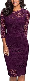Women's Retro Floral Lace 2/3 Sleeve Slim Party Dress