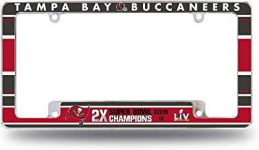 Rico Industries NFL Tampa Bay Buccaneers 2 Time Super Bowl Champs All Over Chrome License Plate Frame