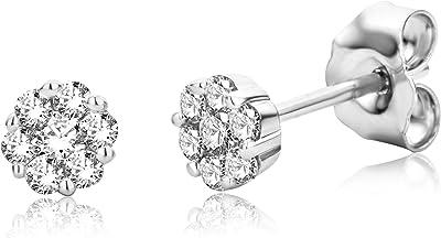 Miore Boucles d'oreilles Femmes Clous d'oreilles avec Diamants en Or Blanc 9 Karat / 375 Or Diamants Brillants 0.22 Carat, Bijoux