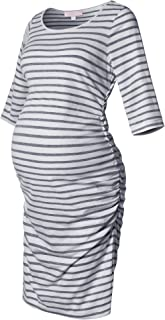 Maternity Dress Striped Ruched Fitted 3/4 Long Sleeve Bodycon Belly Midi Knee Length Dress