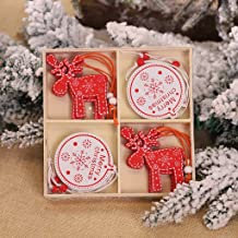 KIZOOM 12PC Christmas Snowflakes Wooden Pendants Xmas Tree Ornaments Home Hanging Decor Xmas Tree Decorations