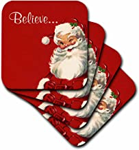 3dRose Believe-Jolly Vintage Santa Illustration on Red Background-Soft Coasters, Set of 8 (CST_219375_2), Multicolor