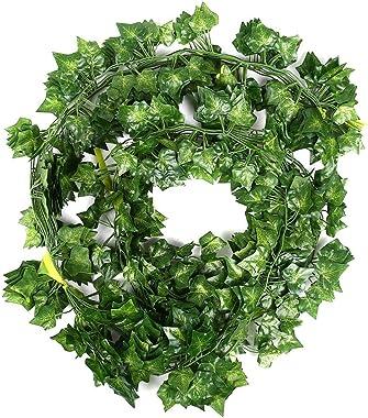 Weimi Paquet de 12 Plantes artificielles de Vigne Fausses Fleurs Lierre Suspendue Guirlande 80 Feuilles 6.88ft pour la fête d