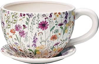 Pflanz-Tasse gelb weiße Blume Neu