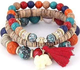New Women Fashion Wood Beads Bracelets Boho Small Elephant Charm Bracelets Set Vintage Style Jewelry Strand