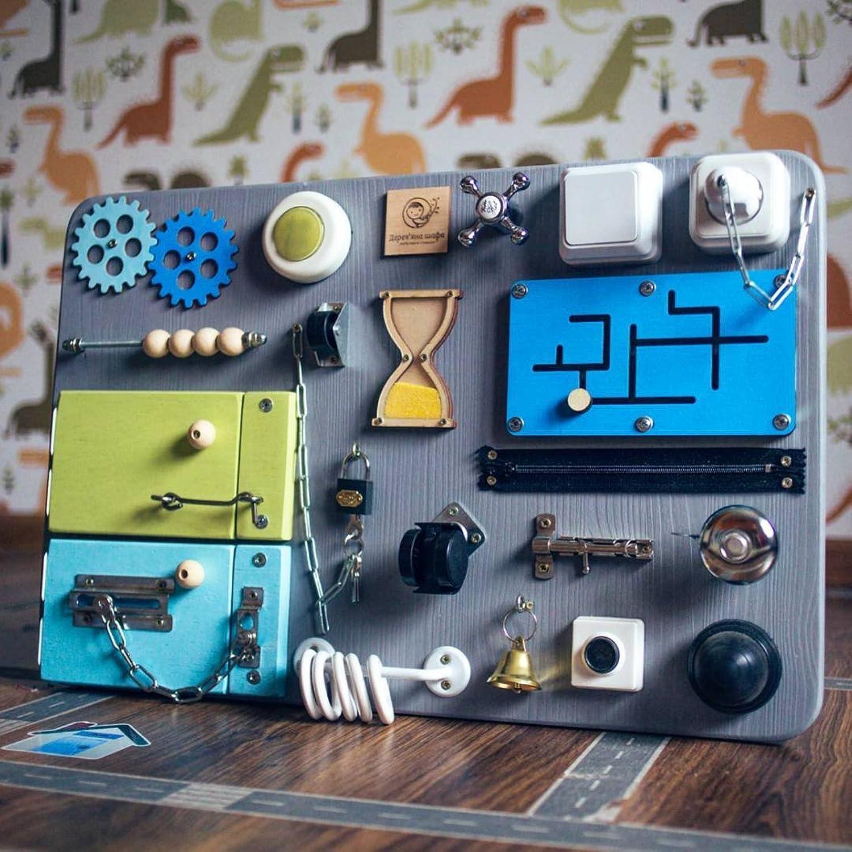 SmartKids-1 Motorikspielzeug, beschftigtes Brett, entwickelndes Spielzeug, Handmotor (grau + grün + blau)