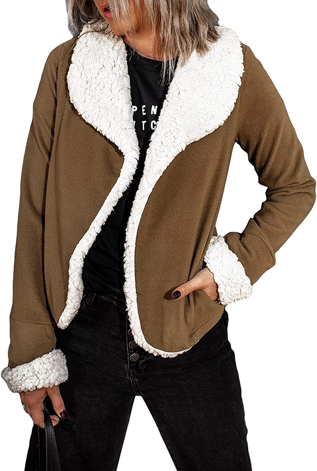 Astylish Women Casual Long Sleeve Outwear Jacket Fleece with Poc Cash Outstanding special price
