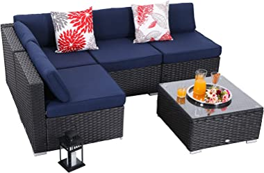 PHI VILLA 5-Piece Outdoor Furniture Set Rattan Wicker Patio Sectional Sofa with Low-Back and Tea Table, Navy Blue