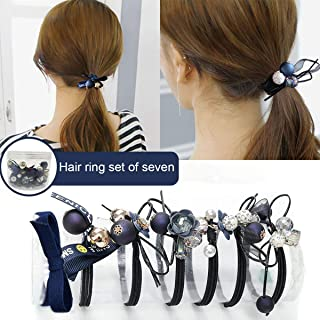Hair Ties Hair Scrunchies Elastic Hair Bands Pearl Ouchless Ponytail Holders Lucky Bowknot Flower Hair Accessories Hair Rope for Women Girls 7 Pieces Loss-proof Hair Ring Hair Band Set (Blue)