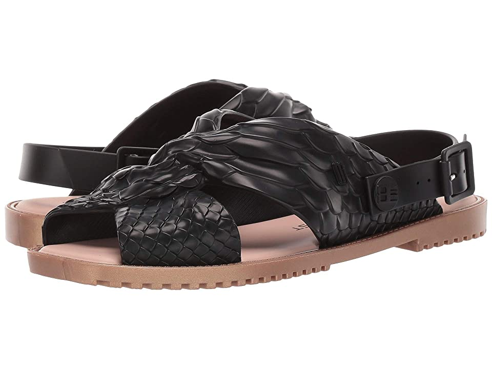 + Melissa Luxury Shoes Baja East + Sauce Flat Sandal (Black Python) Women