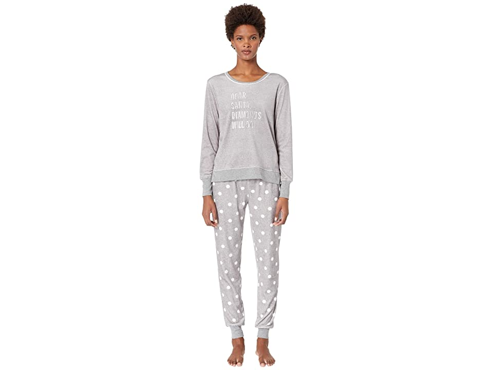 Kate Spade New York Stretch Velour Jogger Pajama Set (Grey Dot) Women