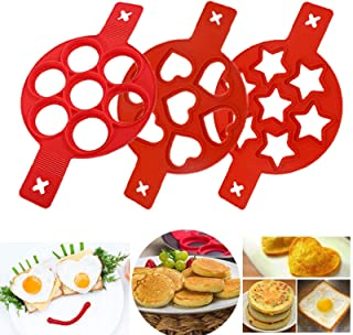 Silicone Pancake Mold Nonstick Egg Ring, Reusable Pancake Maker, Egg Maker, Egg Poacher, Egg Mold, 3 Pack (Red)